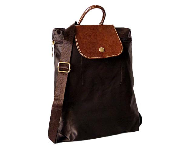 A-SHU SMALL SLIM-LINE NYLON PART GENUINE LEATHER BACKPACK / RUCKSACK - DARK BROWN - A-SHU.CO.UK