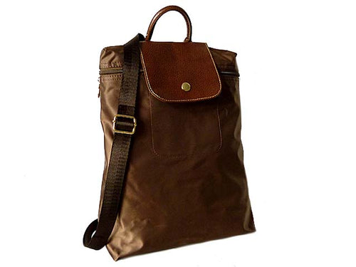 A-SHU SMALL SLIM-LINE NYLON PART GENUINE LEATHER BACKPACK / RUCKSACK - MID BROWN - A-SHU.CO.UK