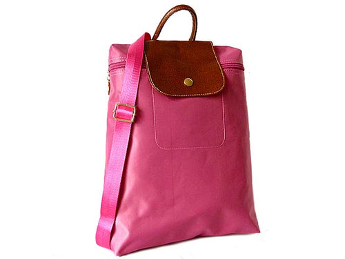 A-SHU SMALL SLIM-LINE NYLON PART GENUINE LEATHER BACKPACK / RUCKSACK - PINK - A-SHU.CO.UK