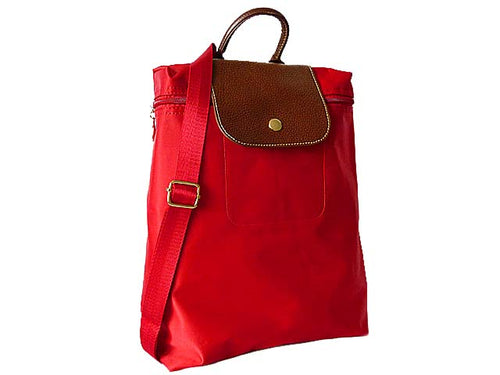 A-SHU SMALL SLIM-LINE NYLON PART GENUINE LEATHER BACKPACK / RUCKSACK - RED - A-SHU.CO.UK