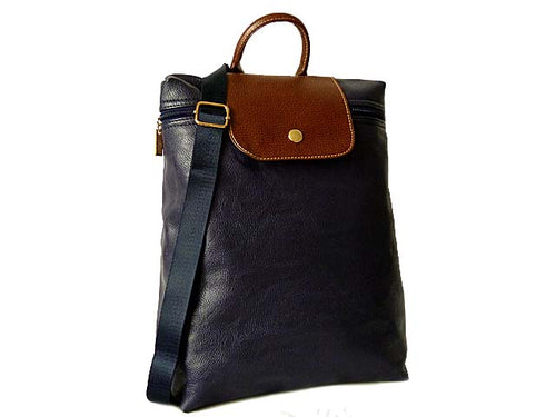 A-SHU SMALL SLIM-LINE PART GENUINE LEATHER BACKPACK / RUCKSACK - NAVY BLUE - A-SHU.CO.UK