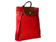 A-SHU SMALL SLIM-LINE PART GENUINE LEATHER BACKPACK / RUCKSACK - RED - A-SHU.CO.UK