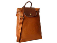 A-SHU SMALL SLIM-LINE PART GENUINE LEATHER BACKPACK / RUCKSACK - TAN - A-SHU.CO.UK