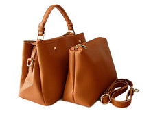 SMALL TAN 2 PIECE HOLDALL HANDBAG SET WITH DETACHABLE INNER BAG AND LONG STRAP