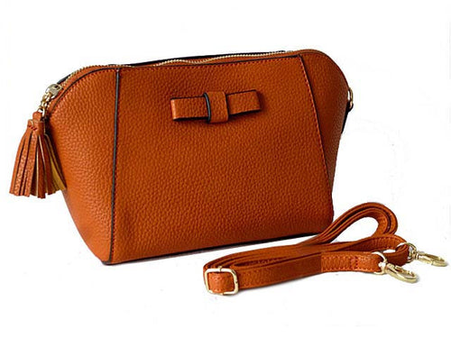 SMALL TAN CROSS-BODY SHOULDER BAG WITH LONG STRAP
