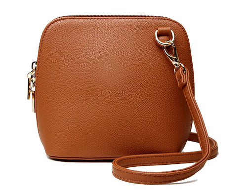 SMALL TAN PLAIN CROSS BODY BAG WITH LONG OVER SHOULDER STRAP
