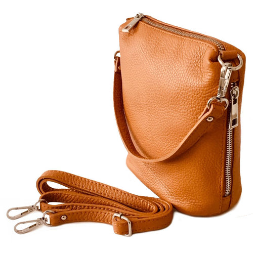 SMALL TAN GENUINE ITALIAN LEATHER SHOULDER HANDBAG WITH CROSS BODY STRAP