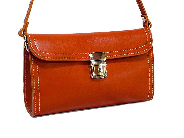 A-SHU SMALL TAN GENUINE LEATHER CLUTCH BAG / SHOULDER BAG WITH LONG STRAP - A-SHU.CO.UK