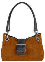SMALL TAN GENUINE SUEDE MULTI POCKET HANDBAG WITH BUCKLE