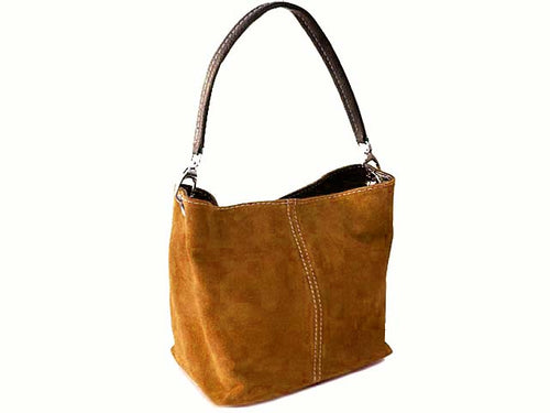 A-SHU SMALL TAN GENUINE SUEDE MULTI POCKET LIGHTWEIGHT HANDBAG - A-SHU.CO.UK