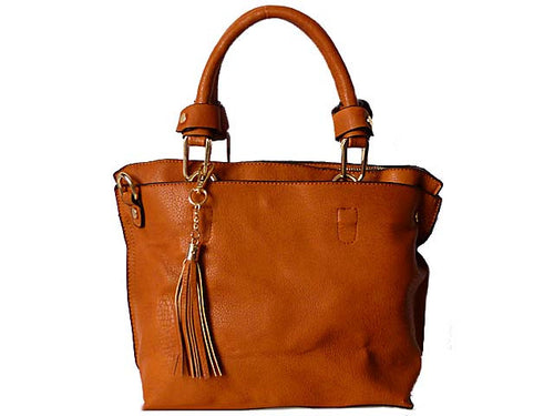 A-SHU SMALL TAN MULTI-COMPARTMENT TASSEL HANDBAG WITH LONG SHOULDER STRAP - A-SHU.CO.UK