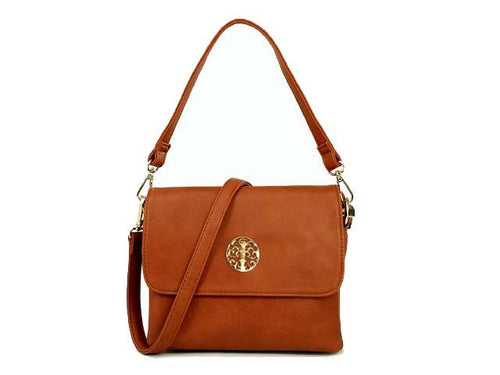 SMALL TAN MULTI POCKET HANDBAG WITH LONG CROSS BODY STRAP