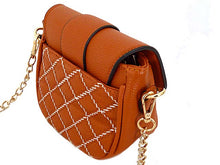 SMALL TAN QUILTED CROSS BODY SHOULDER BAG / CLUTCH BAG WITH LONG CHAIN STRAP
