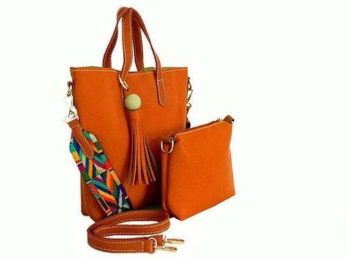 A-SHU SMALL TAN TASSEL TOTE BAG SET WITH CROSSBODY BAG AND LONG SHOULDER STRAPS - A-SHU.CO.UK