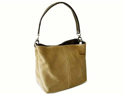A-SHU SMALL TAUPE BEIGE GENUINE SUEDE MULTI POCKET LIGHTWEIGHT HANDBAG - A-SHU.CO.UK