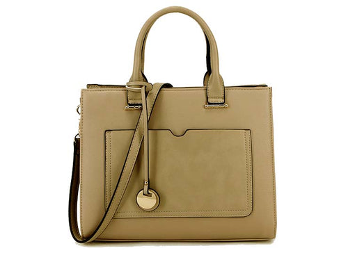 A-SHU SMALL TAUPE BEIGE SMART MULTI COMPARTMENT HANDBAG WITH LONG SHOULDER STRAP - A-SHU.CO.UK