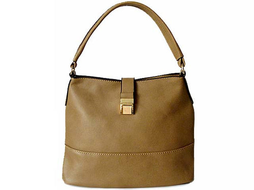 SMALL TAUPE COMPACT SINGLE STRAP HANDBAG WITH LONG SHOULDER STRAP