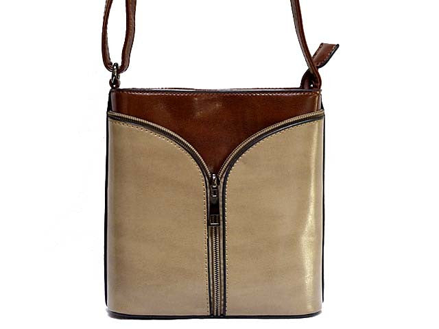 ORDER BY REQUEST - SMALL TAUPE LEATHER EFFECT CROSS-BODY SHOULDER BAG