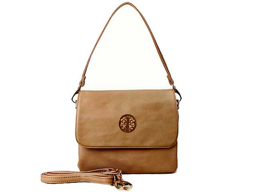 SMALL TAUPE MULTI POCKET HANDBAG WITH LONG CROSS BODY STRAP