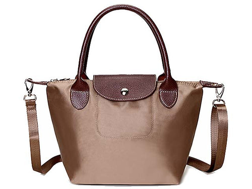 SMALL TAUPE PART GENUINE LEATHER FOLD-AWAY CROSSBODY HANDBAG WITH STRAP