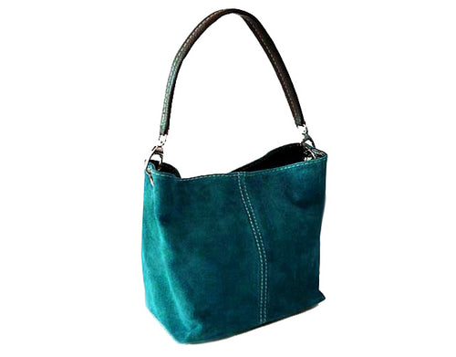 SMALL TEAL BLUE GENUINE SUEDE MULTI POCKET LIGHTWEIGHT HANDBAG