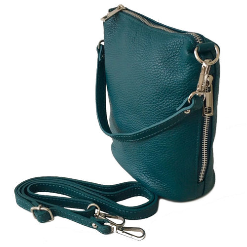 SMALL TEAL GENUINE ITALIAN LEATHER SHOULDER HANDBAG WITH CROSS BODY STRAP