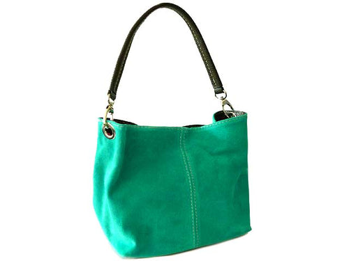 SMALL TURQUOISE GENUINE SUEDE MULTI POCKET LIGHTWEIGHT HANDBAG