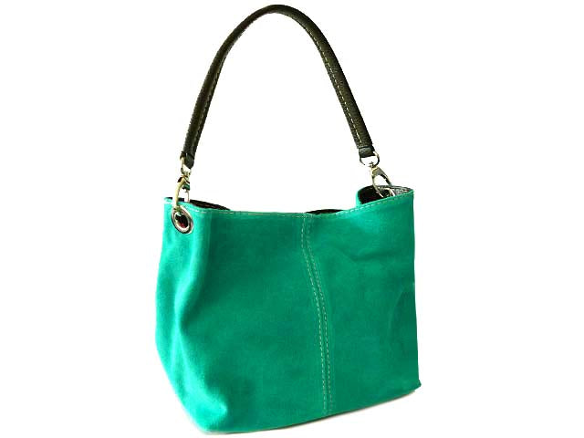 A-SHU SMALL TURQUOISE GENUINE SUEDE MULTI POCKET LIGHTWEIGHT HANDBAG - A-SHU.CO.UK