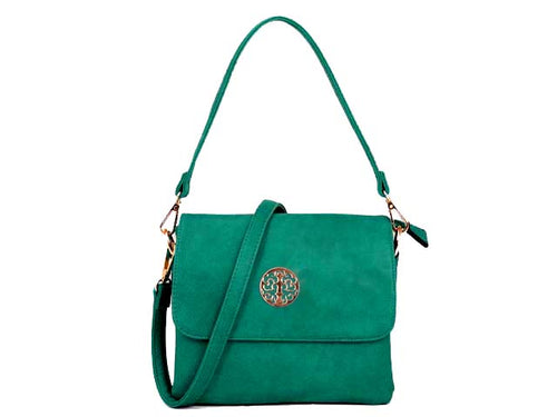 SMALL TURQUOISE MULTI POCKET HANDBAG WITH LONG CROSS BODY STRAP