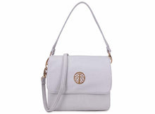 SMALL WHITE MULTI POCKET HANDBAG WITH LONG CROSS BODY STRAP