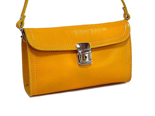 SMALL YELLOW GENUINE LEATHER CLUTCH BAG / SHOULDER BAG WITH LONG STRAP