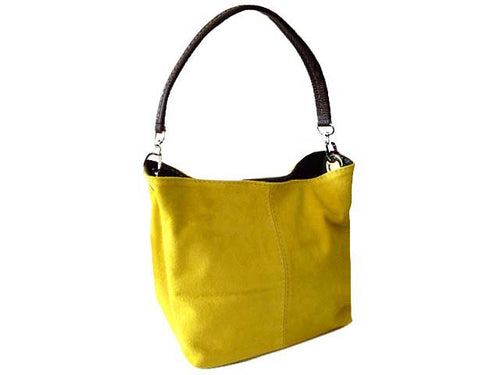 A-SHU SMALL YELLOW GENUINE SUEDE MULTI POCKET LIGHTWEIGHT HANDBAG - A-SHU.CO.UK