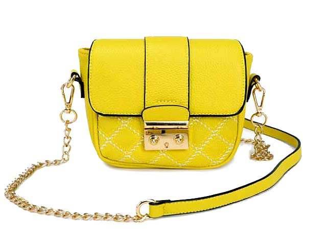 SMALL YELLOW QUILTED CROSS BODY SHOULDER BAG / CLUTCH BAG WITH LONG CHAIN STRAP