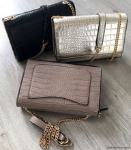 A-SHU BROWN SNAKESKIN CROSS BODY SHOULDER BAG WITH LONG GOLD CHAIN STRAP - A-SHU.CO.UK