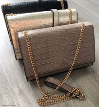 GOLD SNAKESKIN CROSS BODY SHOULDER BAG WITH LONG GOLD CHAIN STRAP