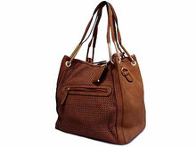 TAN 2-WAY TOTE HANDBAG / HOLDALL HANDBAG WITH LONG SHOULDER STRAP