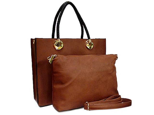 BROWN 2 PIECE BAG SET WITH DETACHABLE INNER BAG AND LONG STRAP