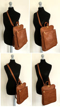 TAN MULTI COMPARTMENT CROSS BODY BACKPACK