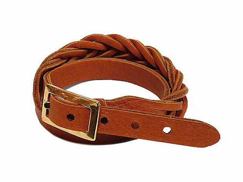 TAN GENUINE LEATHER WRAP AROUND WOVEN WRIST STRAP BRACELET