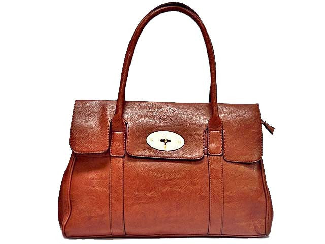 ORDER BY REQUEST - TAN LEATHER EFFECT CLASSIC HANDBAG WITH TWIST-LOCK CLOSURE
