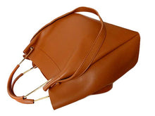TAN LEATHER EFFECT HOLDALL HANDBAG WITH INNER POUCH AND LONG STRAP