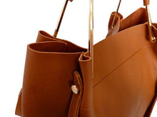 A-SHU TAN LEATHER EFFECT HOLDALL HANDBAG WITH INNER POUCH AND LONG STRAP - A-SHU.CO.UK
