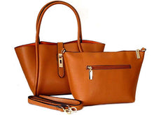 A-SHU TAN LEATHER EFFECT TOTE HANDBAG SET WITH DETACHABLE INTERNAL BAG AND LONG STRAP - A-SHU.CO.UK