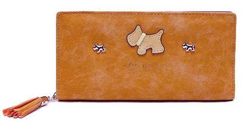 TAN MULTI-COMPARTMENT DOG PURSE WALLET WITH TASSEL