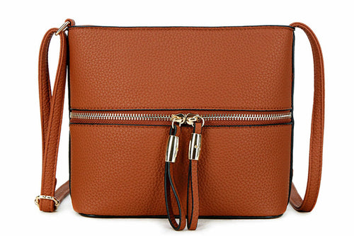 TAN MULTI COMPARTMENT CROSSBODY BAG WITH LONG STRAP