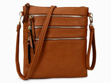 A-SHU TAN SLIM MULTI POCKET CROSS BODY BAG WITH LONG STRAP - A-SHU.CO.UK