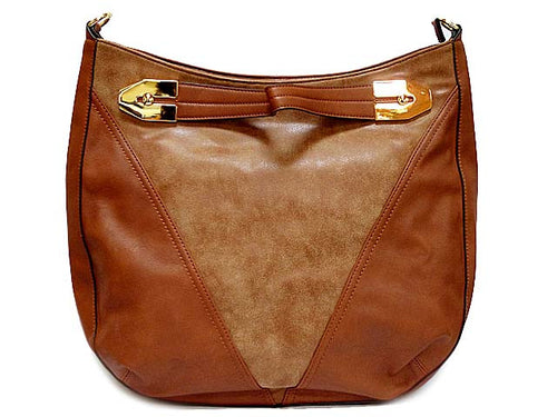 TAN SUEDE AND LEATHER EFFECT TOTE HANDBAG WITH LONG STRAP