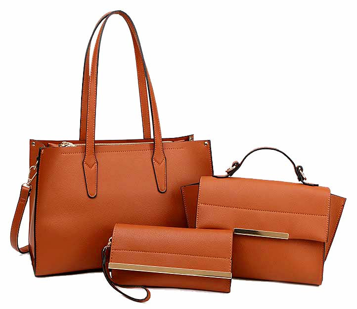 A-SHU TAN TOTE HANDBAG SET WITH SMALL HOLDALL CROSS BODY BAG AND CLUTCH BAG / PURSE WALLET - A-SHU.CO.UK