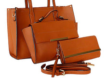TAN TOTE HANDBAG SET WITH SMALL HOLDALL CROSS BODY BAG AND CLUTCH BAG / PURSE WALLET