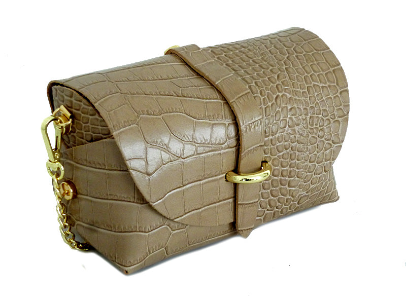 A-SHU TAUPE GENUINE LEATHER CROC PRINT CROSS BODY BAG WITH CHAIN STRAP - A-SHU.CO.UK